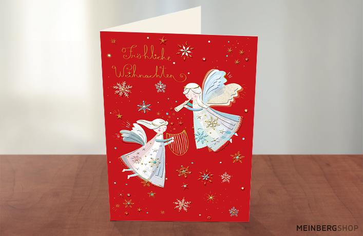 Musizierende Engel Weihnachtskarte rot