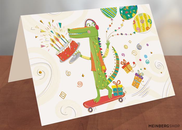 Turnowsky Geburtstagskarte Katze Luftballons