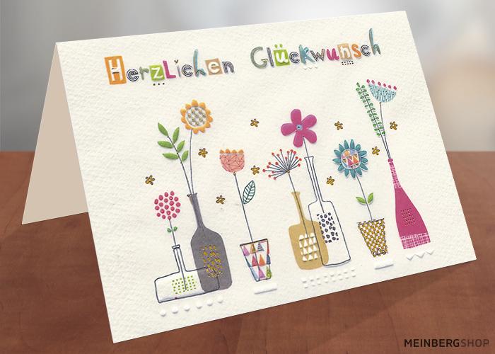 Herzliche Glückwünsche  Klappkarte Blumen