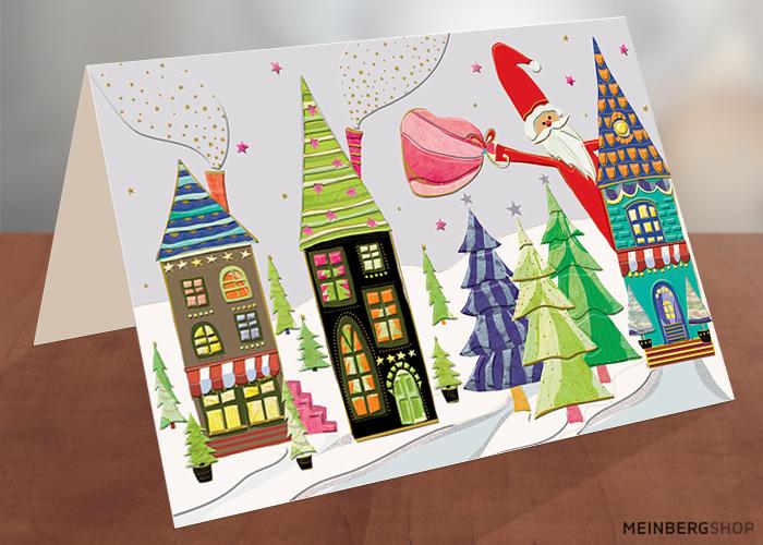 Bunte Häuser Weihnachtskarte