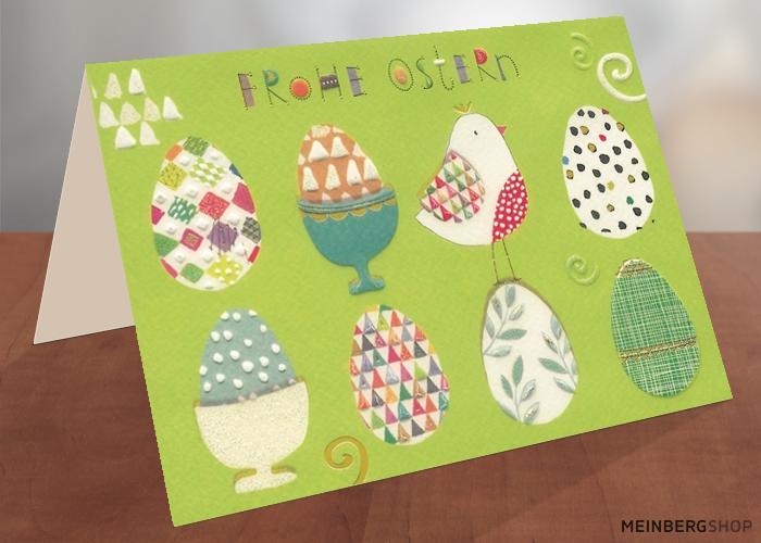 Frohe Ostern bunte Eier Doppelkarte