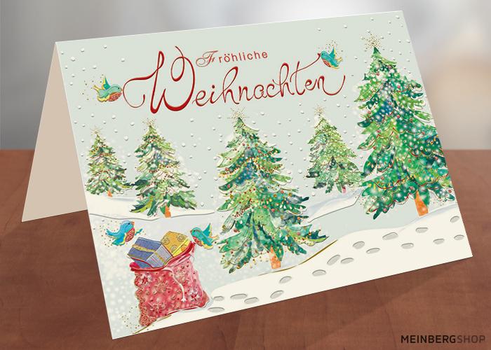 Weihnachtskarte Tannen Fröhliche Weihnachten
