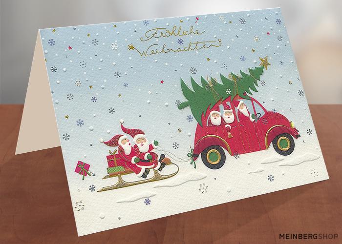 Weihnachtsmänner mit Auto