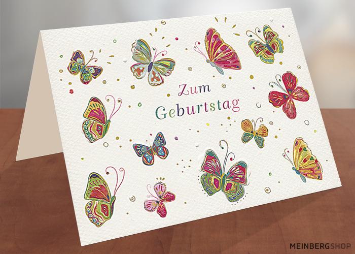 Klappkarte Schmetterlinge Geburtstag