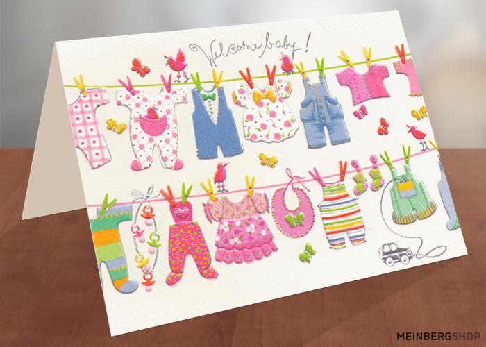 Welcome Baby Wäscheleine Babykleidung Karte