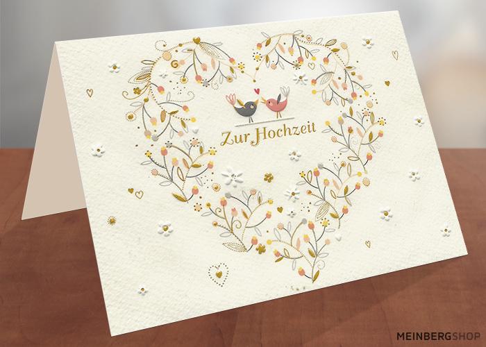 Hochzeitskarte Herz mit Vögel