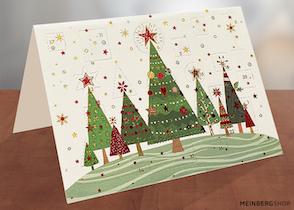 Adventskalenderkarte Weihnachtsbäume