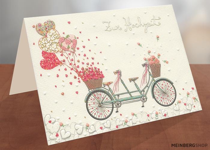 Tandem mit Herzen Hochzeitskarte