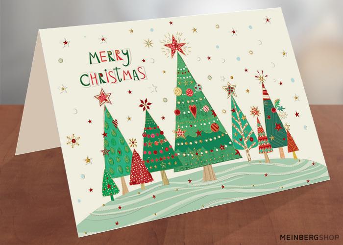 Tannen Merry Christmas Weihnachtskarte