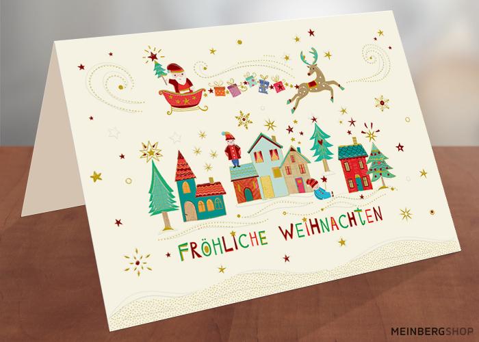 Häuser Fröhliche Weihnachtskarte