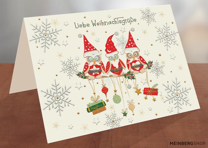 Weihnachtskarte Eulen auf Ast