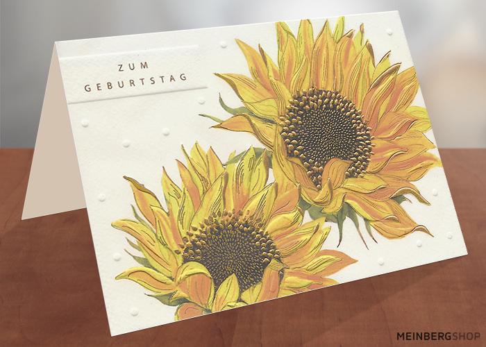Geburtstagskarte zwei Sonnenblumen