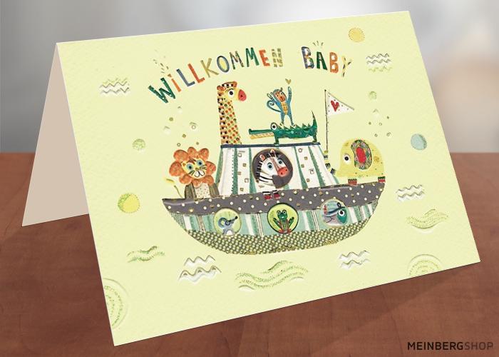 Willkommen Baby Boot Karte Geburt