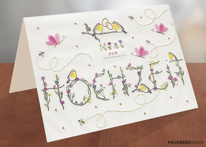 Vögel Hochzeitskarte Schrift zur Hochzeit