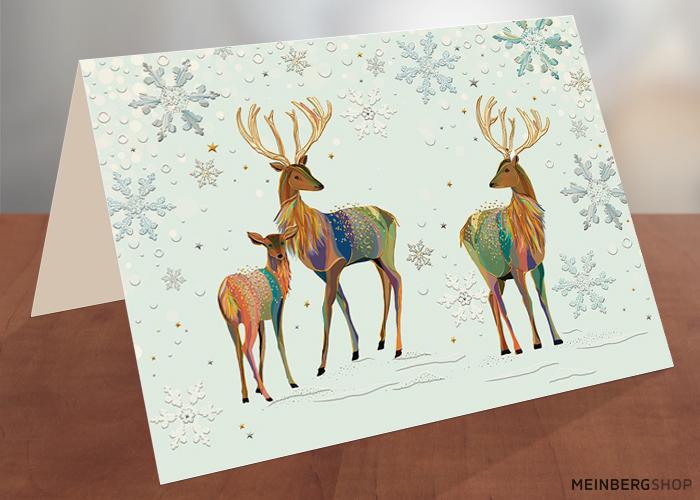 Rentierfamilie Turnowsky Weihnachtskarte