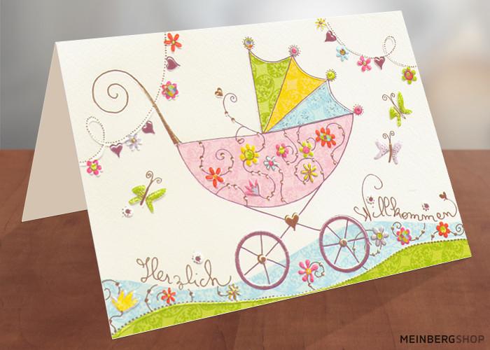 Rosa Kinderwagen Karte zur Geburt