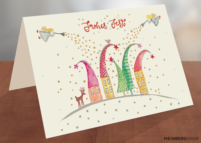 Engel Häuser mit Weihnachtsmützen Karte