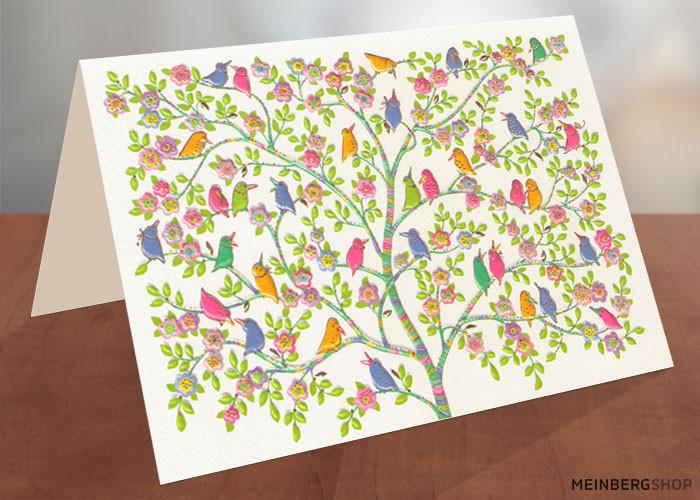 Turnowsky Karte Vögel Baum quer