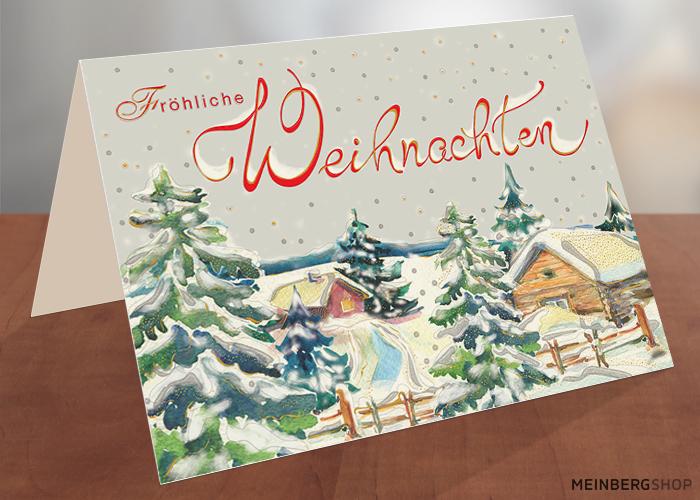 Holzhäuser im Schnee Fröhliche Weihnachtskarte