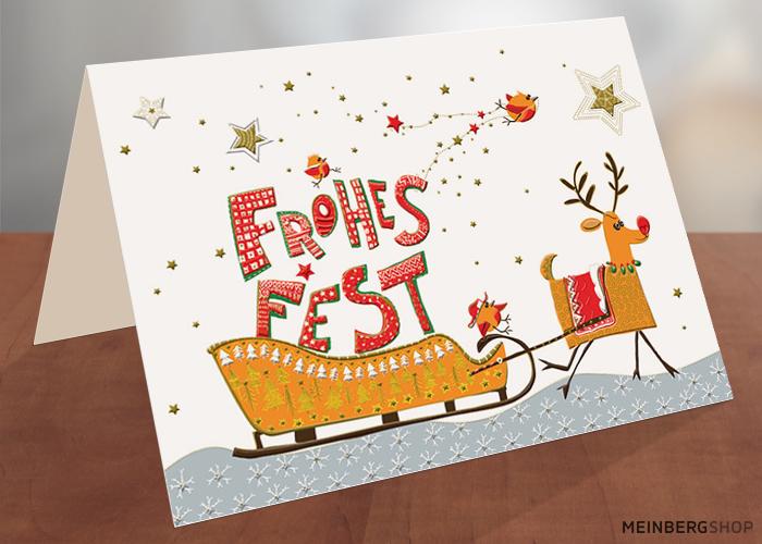 Rentier mit Weihnachtsschlitten Frohes Fest