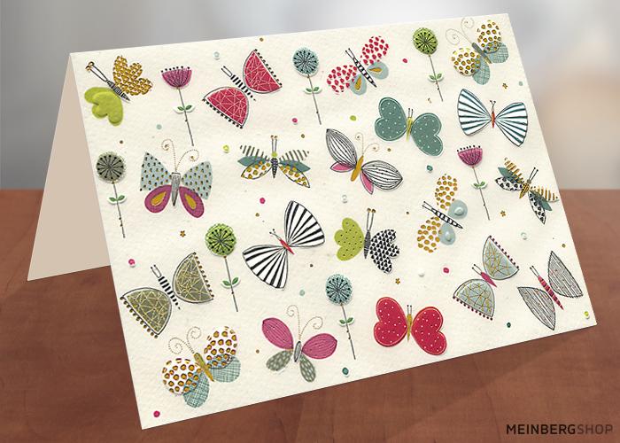 Viele Schmetterlinge Klappkarte