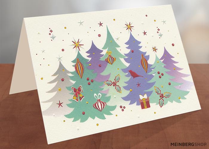 Geschmückte Tannen Weihnachtskarte