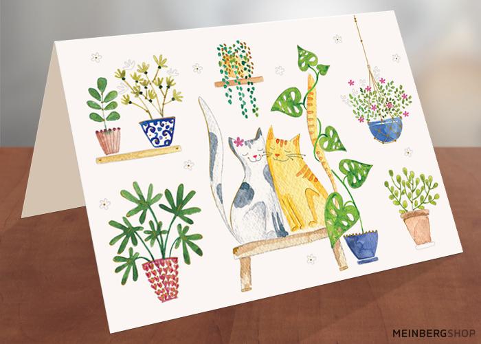 Zwei Katzen mit Pflanzen Klappkarte