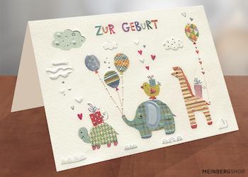 Elefantenfamilie Turnowsky Karte Geburt