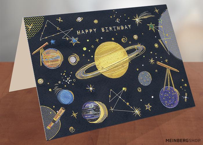Geburtstagskarte Planeten Universum