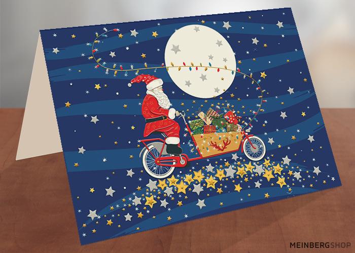 Weihnachtsmann auf Lastenrad
