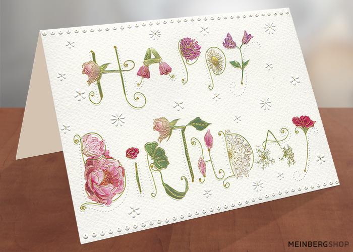 Blumenschriftzug Happy Birthday Karte