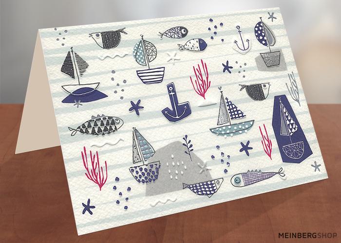 Segelboote Fische Anker Grußkarte