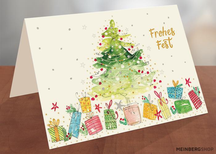 Tanne Geschenke Frohes Fest Weihnachtskarte