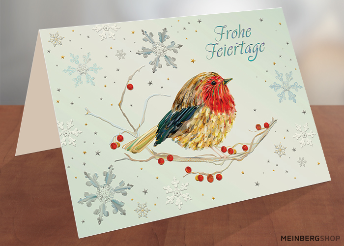 Rotkehlchen Frohe Feiertage Weihnachtskarte