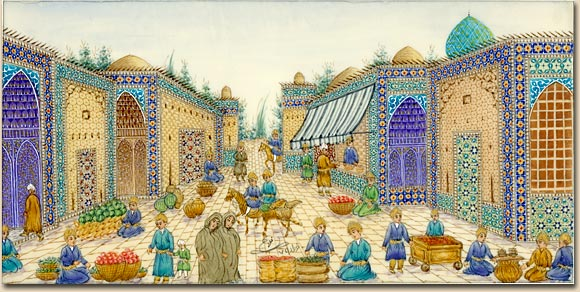 Imagination of an ancient Persian Bazaar,  on compressed powder of camel bone