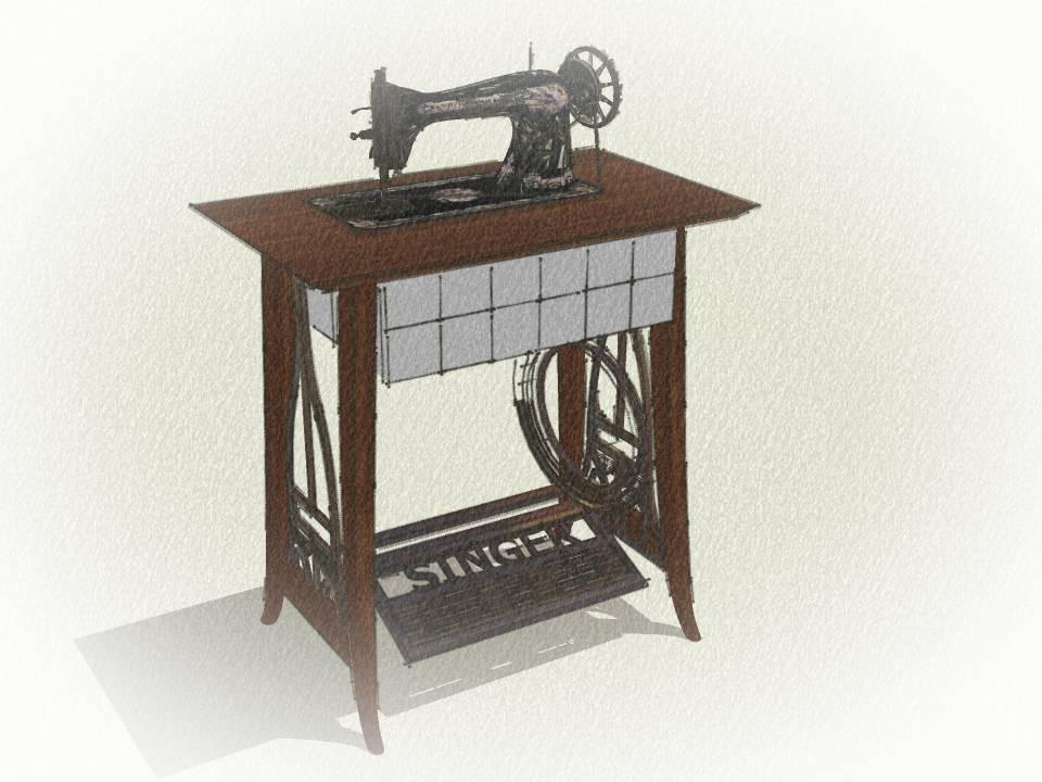 Maquina de coser con mueble fabulous maquina de coser - Mueble para maquina de coser ...