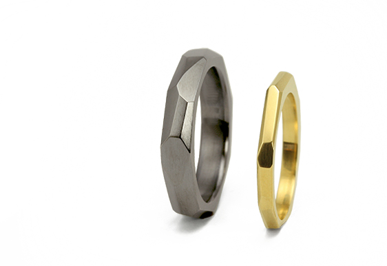 """""""Facets of Life"""" Wedding Bands in gold and blackened silver"""