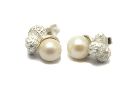 """""""Hope Pearls"""" Earstuds - Sweet Water Pearls, Sterling Silver mounted by Eva Suba"""