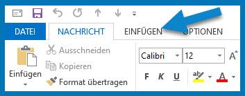 Bild: Outlook-Menüleiste: Register Nachricht | Pfeil weist auf EINFÜGEN