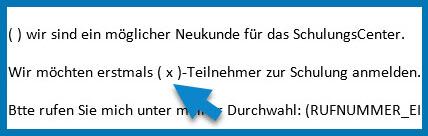 Bild: Outlook-BODY | Pfeil weist auf (x) für Anzahl Teilnehmer möglicher Neukunde