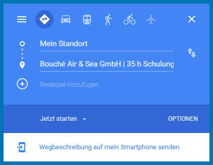 Per Klick zum Google-Routenplaner: Die Zieladresse ist eingetragen.