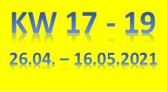 9. Wochenbericht 2021 (26.04. - 16.05.2021)
