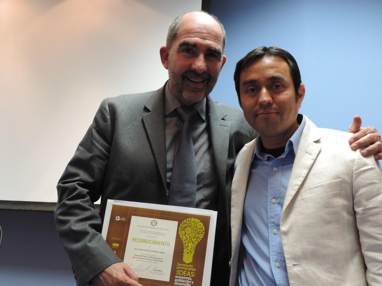 Con Juan Carlos Moreno-Brid, gran persona y amigo, 2013.