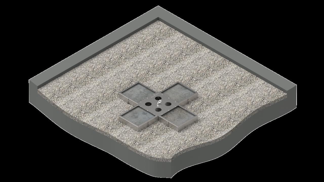 VARIO-45 als Einzelanschlagpunkt auf bekiestem Flachdach