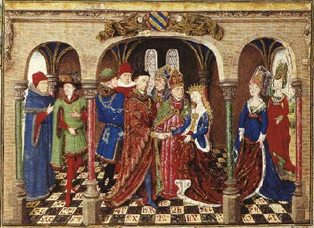 Marriage of Girart de Roussillon from an illuminated manuscript in the collection of the Österreichische Nationalbibliothek, Vienna