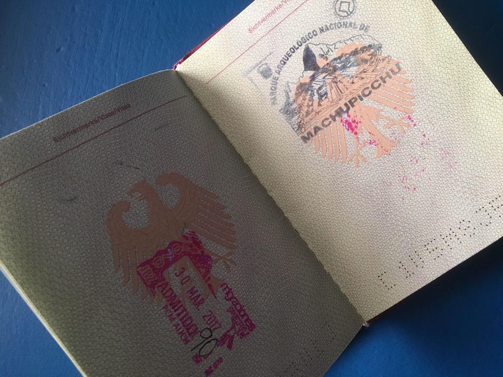 Der Stempel im Pass ist der Beweis: Ich war in Maccu Picchu