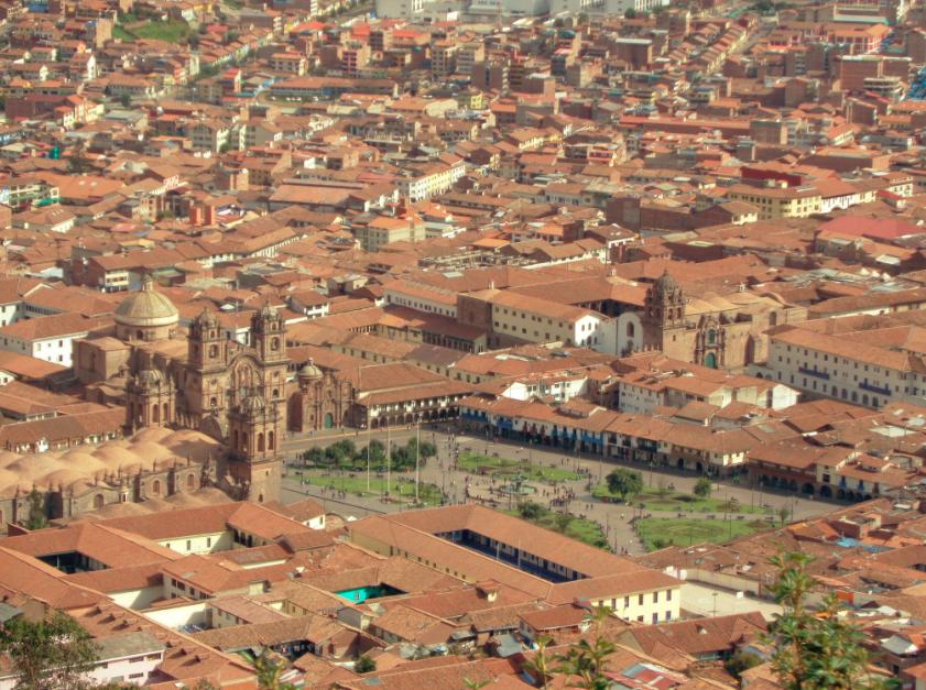 Die Häuser in Cusco sind alle aus braunen