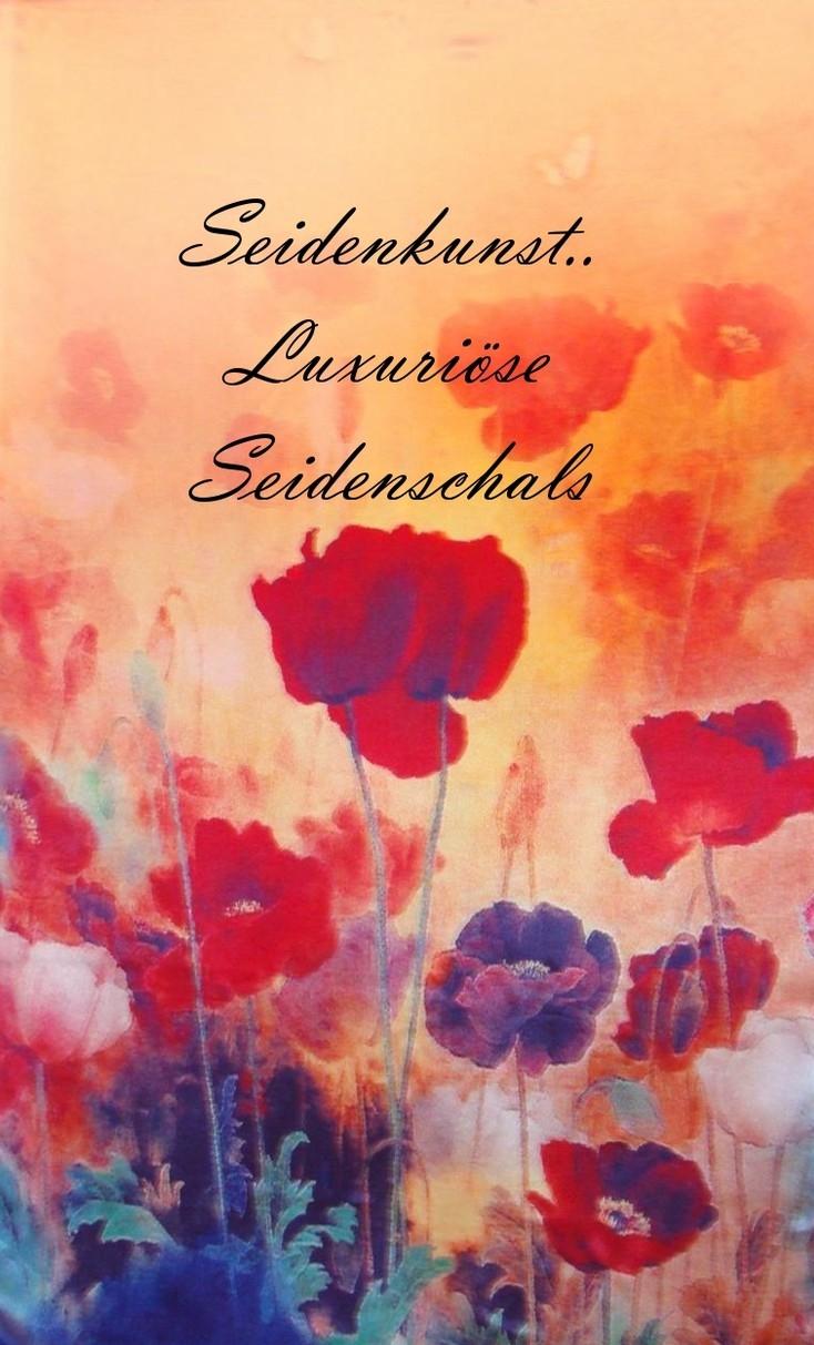 "SEIDENKUNST Seidenschal ""Mohnblumen"" http://www.life8style.com/seidenkunst"