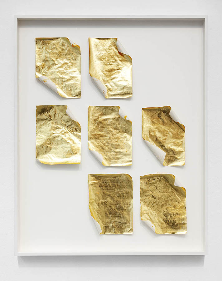 Failed Ideas Rolled and then Unrolled  Failed Ideas, gold leaf, 2019
