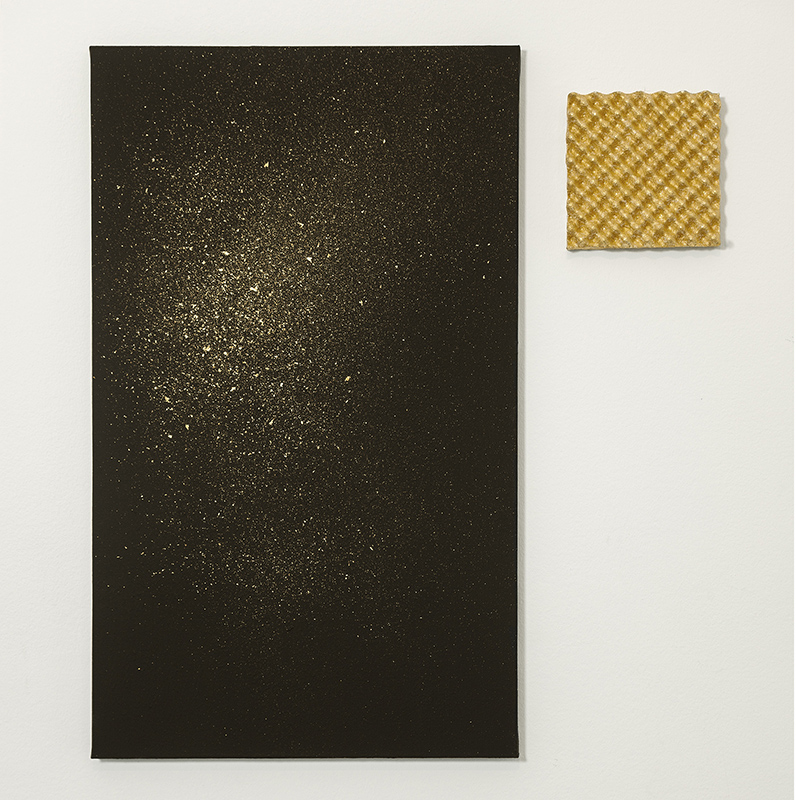 Mistakes I've Made  gold leaf on faraday paint, gold leaf on acoustical object (ready made acoustical foam) / photo by Michel Claus, 2014